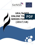 UEASeNSS Online Training Series for PGRs 2017-2018