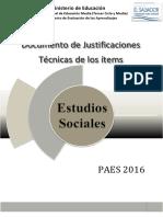Justificaciones Sociales PAES 2016