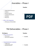 TM Deliverables – Phase I