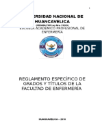 Reglamento Específico de Grados y Titulos de La Facultad de Enfermería Vigente