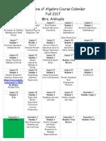 foundations of algebra course calendar
