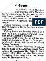 Charles h Gagne Obituary (Monday January 3rd 2000)