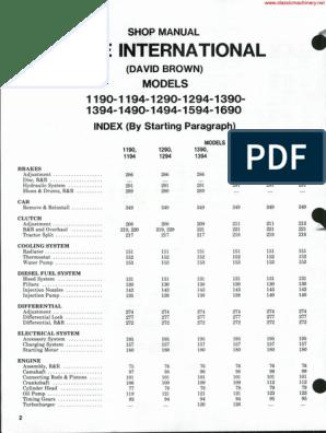 David Brown 1390 Manual | Axle | on