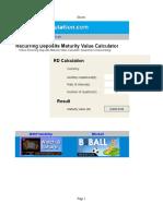 Recurring Deposits Maturity Value