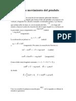 Ecuación de Movimiento Del Péndulo Simple