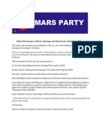 Political party, a platform for the planet Mars, a little history.