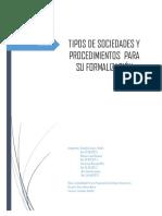 Tipos de Sociedades y Procedimiento Para Su Formalización