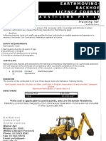Flyer for Backhoe 3 Day Course Ffs