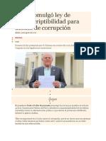 PPK Promulgó Ley de Imprescriptibilidad Para Delitos de Corrupción