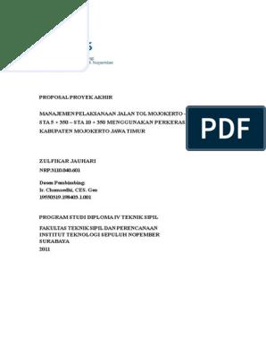 Proposal Tugas Akhir Manajemen Proyek Jalan