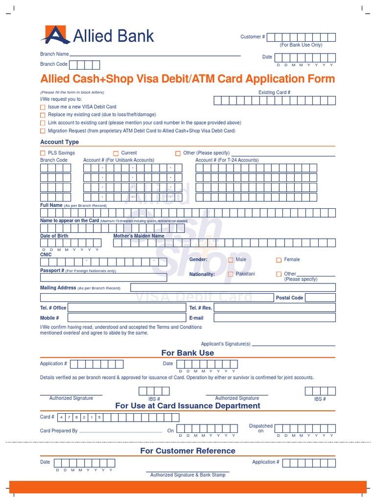 Vdc Application Form   Debit Card   Financial Transaction