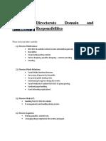 Directorate Domain and Responsibilites