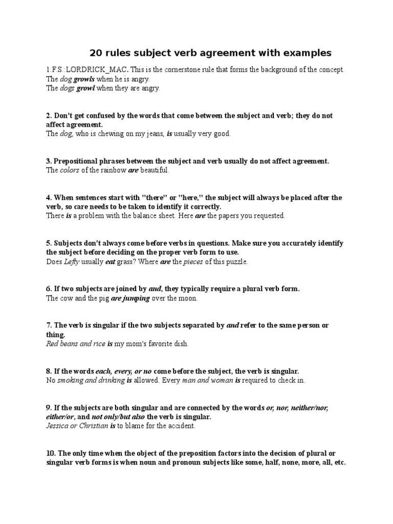 20 Rules Subject Verb Agreement With Examples | Grammatical Number ...