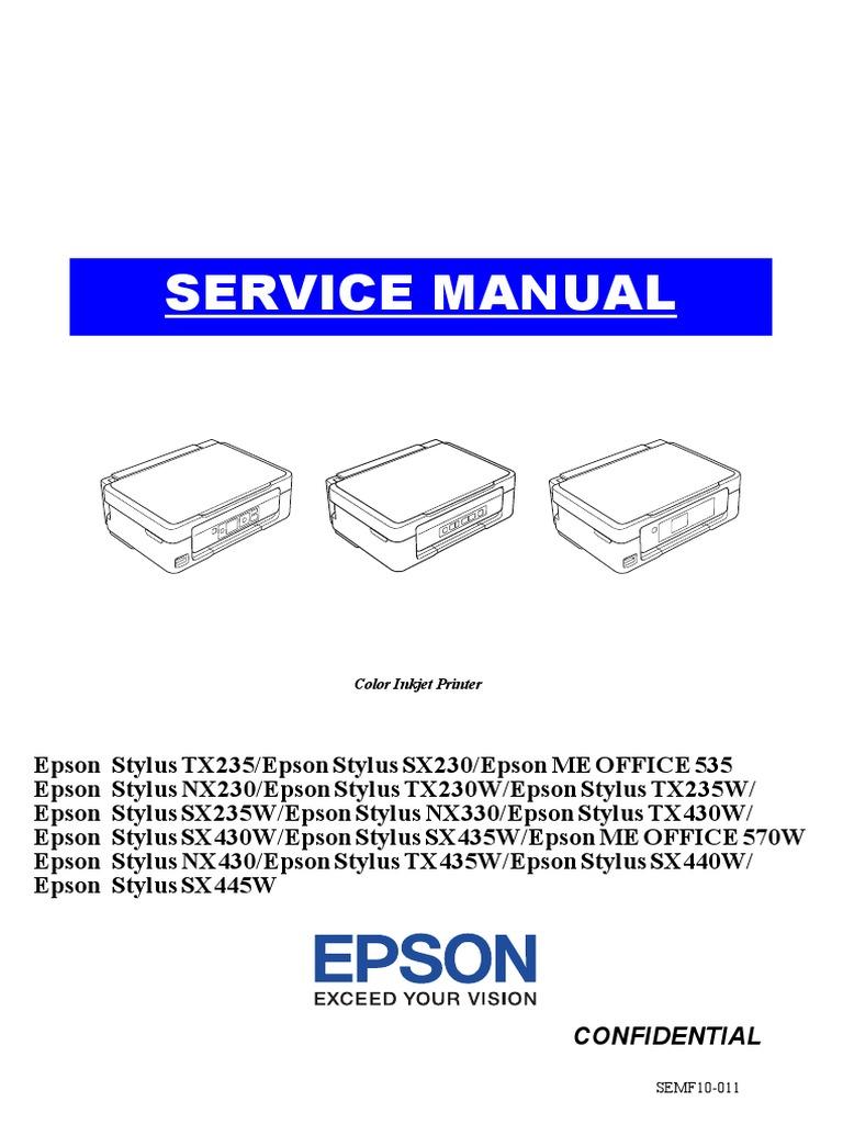 Epson Nx230 Nx330 Nx430 Sx230 Sx235w Sx430w Sx435w Sx440w Sx445w Tx230w Tx235 Tx235w Tx430w Tx435w Me Office 535 570w Pdf Troubleshooting Printer Computing