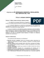 Proyecto Ordenanza Taxi Cordoba