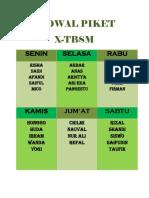 Jadwal Piket X Tsm