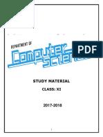 Class Xi Computer Science Study Material