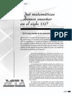 Que matematica debemos enseñar en el siglo XXI.pdf