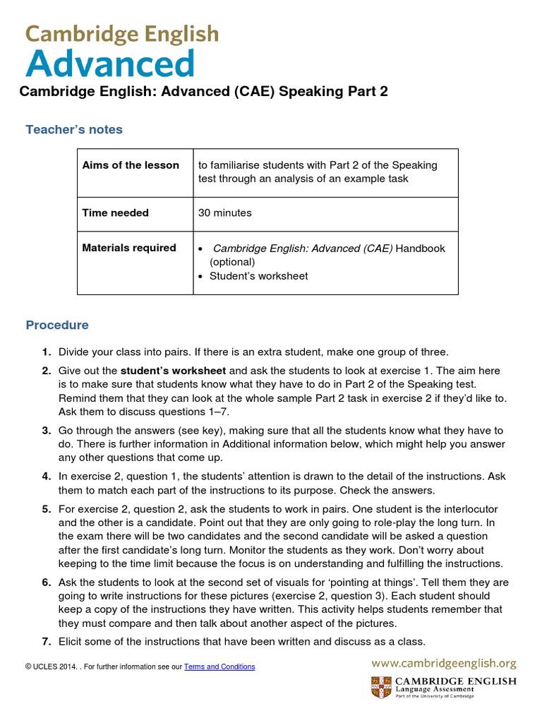 Speaking CAE 1.pdf | Communication | Sicología y ciencia cognitiva