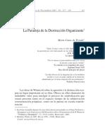 La Paradoja de La Destruccion Organizante. Myrta Casas de Perea