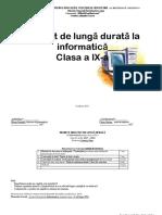 Proiectarea de Lunga Durata La Informatica Pentru Clasa a Ix
