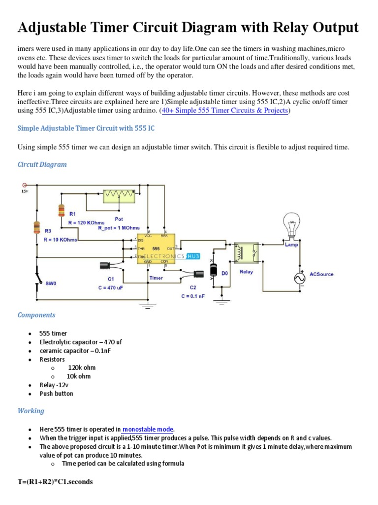 12v Timer Circuit Diagram Schematic Diagrams 555 Time Delay Adjustable With Relay Output