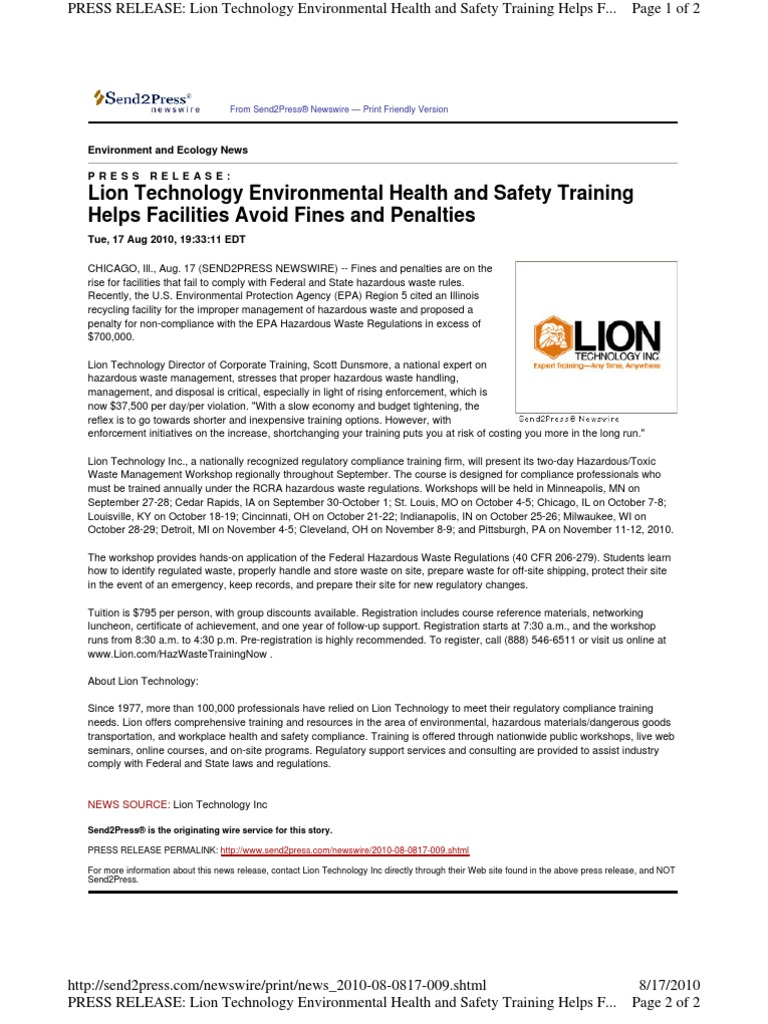 Lion Technology EH&S Training Helps Facilities Avoid Fines and ...
