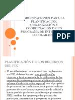 Orientaciones Para La Planificación, Organización y Coordinación