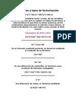 31950724 Ejemplos y Tipos de Factorizacion