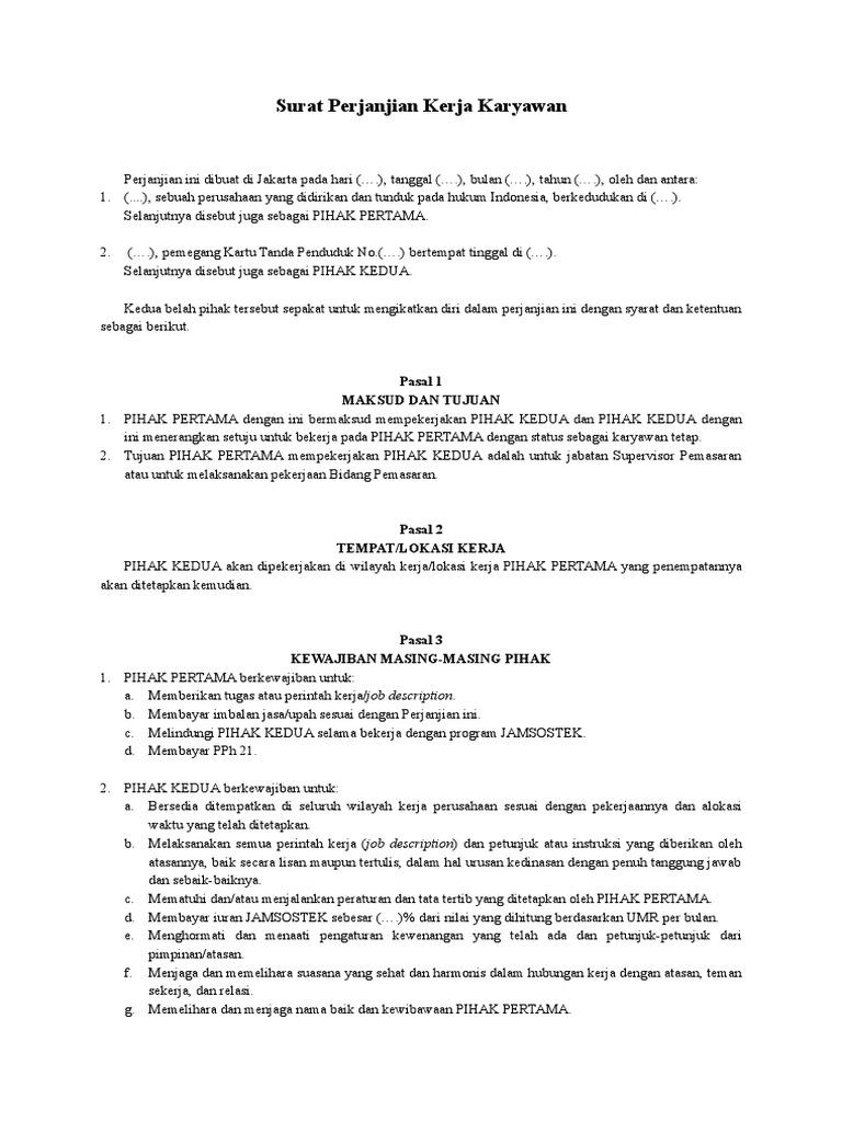 Contoh Perjanjian Kerja Karyawan Doc