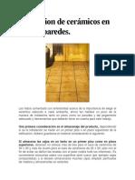 Instalacion de Cerámicos en Pisos y Paredes