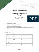 2015 Roseville Year 7 Mathematics Term 4 Paper 1