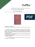 Revista Intus-legere Filosofia Call For