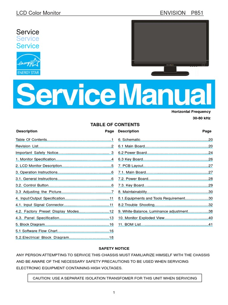 Philips_LCD_215vw9_Envision_p851 Manual Service pdf