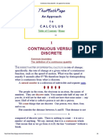 Continuous Versus Discrete - An Approach to Calculus