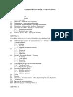 Indice Analitico Del Curso de Termodinamica i