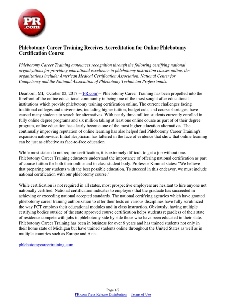 Phlebotomy Career Training Receives Accreditation For Online