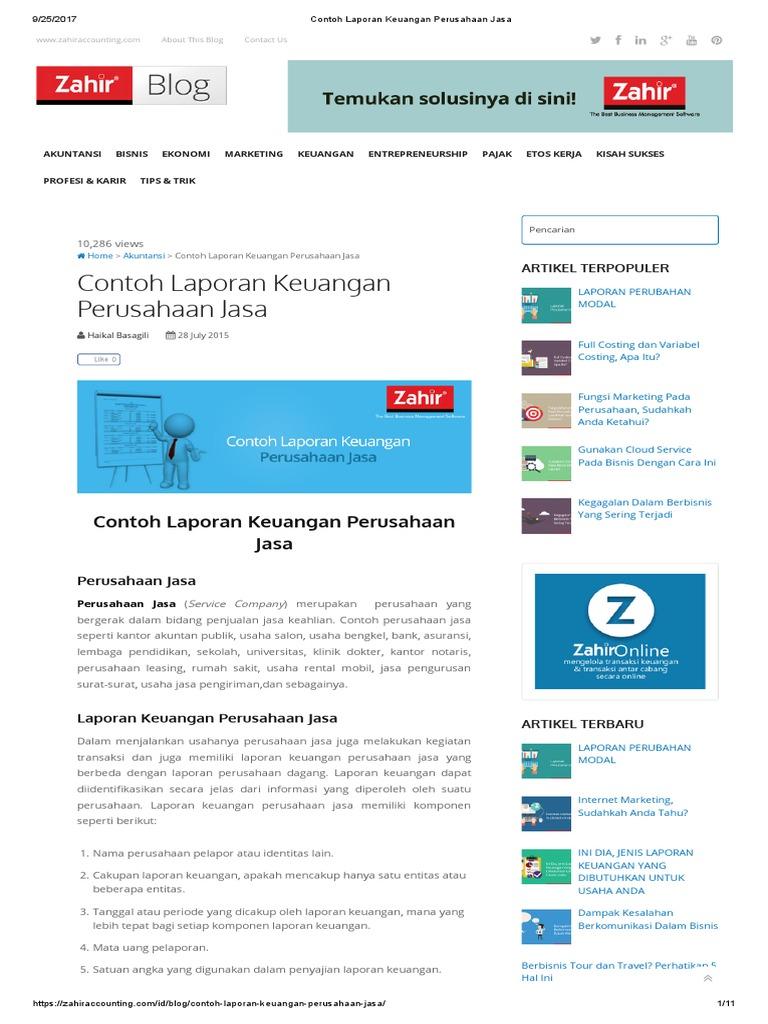 Contoh Laporan Keuangan Perusahaan Jasa Pdf