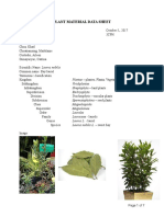 Bay Leaves Group 2 Plant Material Data Sheet
