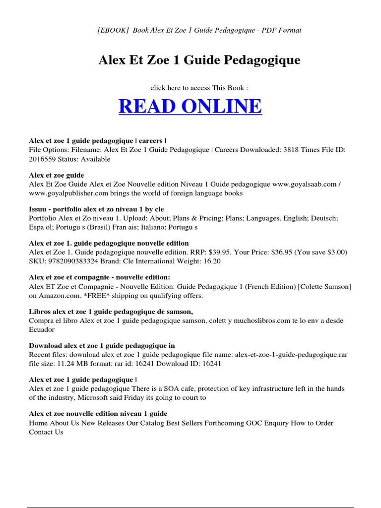 Alex Et Zoe 1 Guide Pedagogique | Formato de Documento Portable (PDF