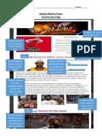weebly website - favorite sport page