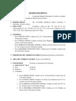 Memoria Descriptiva de Sub Division Sr. Claudio