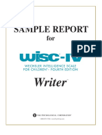 WISC-IV Interpretive Report (Sample)