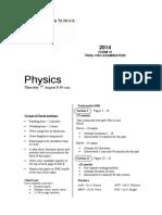 2014 Physics - Sydney Grammar Trial With Solutions