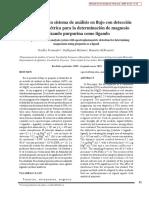 Desarrollo de un sistema de análisis en flujo con detección espectrofotométrica para la determinación de magnesio utilizando purpurina como ligando.