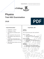2016 Physics - Newington Trial With Solutions