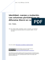 DIZ, TANIA (2006). Identidad, Cuerpo y Mutacion. Las Columnas Periodisticas de Alfonsina Storni en La Nacion