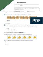 Prueba de Matemática Multiplicacion