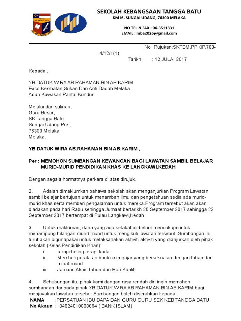 Contoh Surat Mohon Sumbangan Yb 19 7