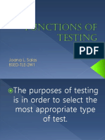 Functions of Testing